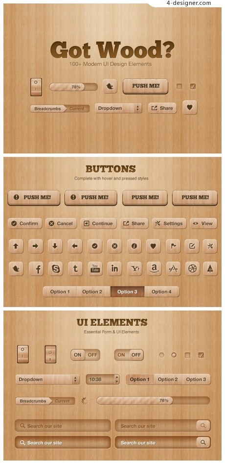 Wooden UI toolkit psd material