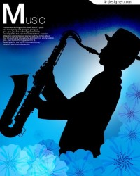 Blowing saxophone silhouette psd material