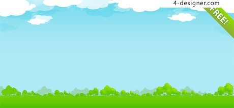 Blue sky and grass background PSD layered material