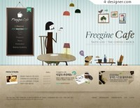 Cartoon style cafe page PSD layered material