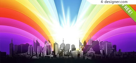 Colorful city silhouette PSD material