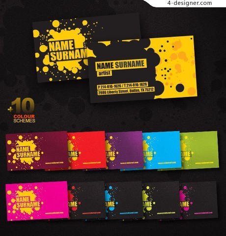 Cool inkjet business card template psd material
