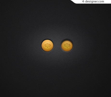 Exquisite cloud download button psd material