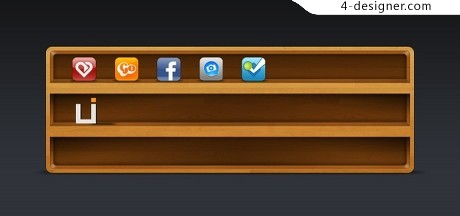 Exquisite shelf wooden frame icon PSD material