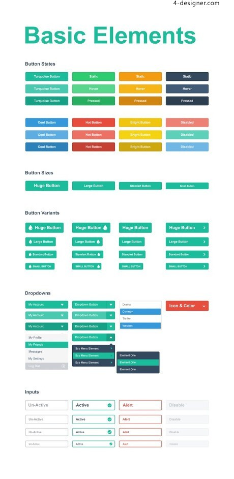 Flat style ui psd material