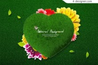 Green love art and design PSD material