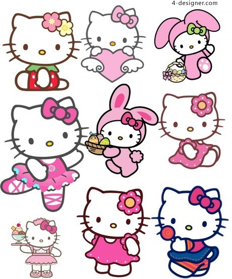 Hello kitty cartoon cat psd material