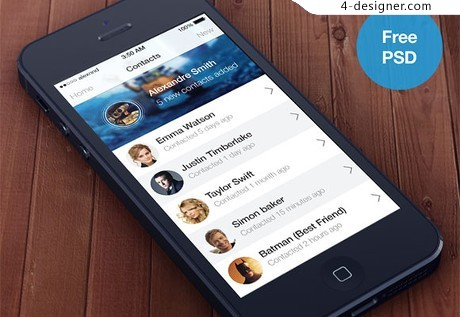 IOS7 style contacts app PSD material