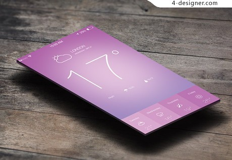 IOS7 weather application design PSD material
