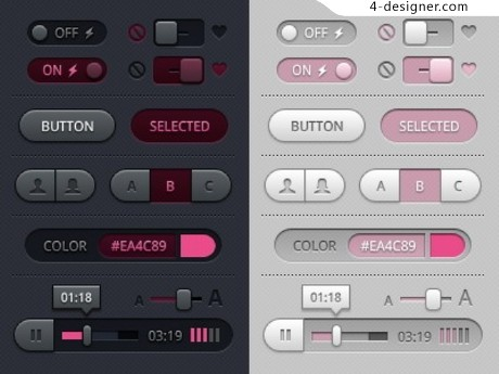 Interface switching slider web elements psd material