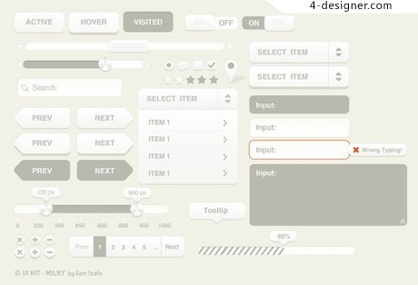 Silver webUI elements PSD material