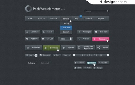 4-Designer | Simple black web elements PSD material