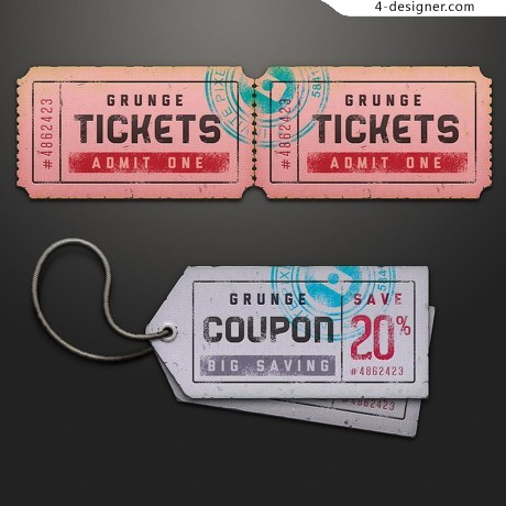 Tickets and price tag psd material