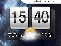 Time and weather interface psd layered material
