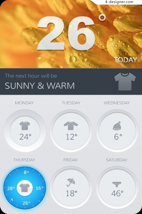 Weather APP psd fresh material