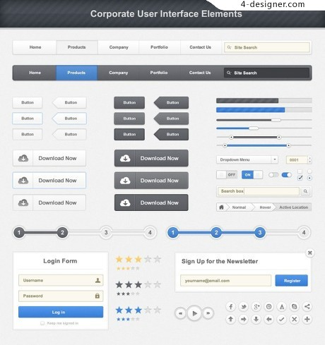 WebUI icon elements PSD material 01