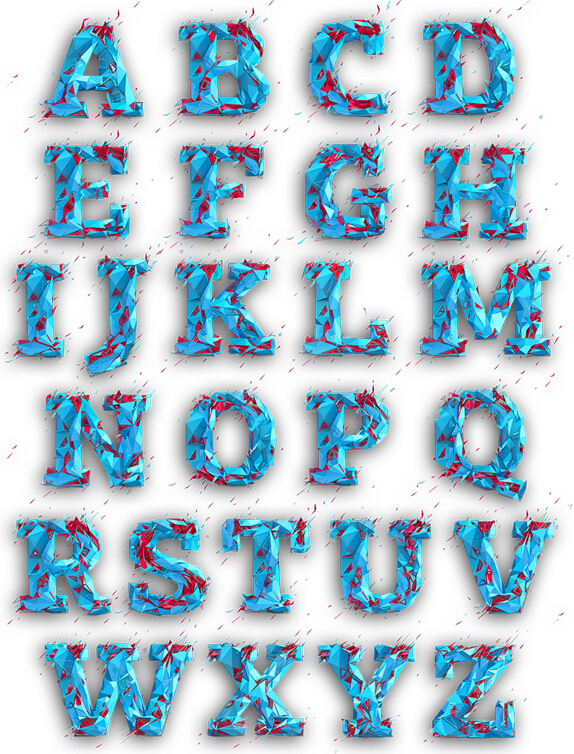 Low poly typography material Shu letter font design ideas