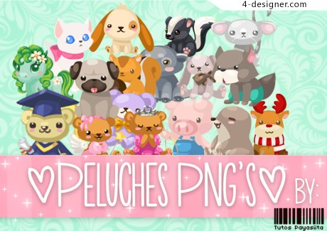 A variety of cute little animals PNG