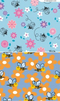 Bee blue seamless background pattern material