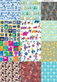 Classic cute animal theme background pattern material