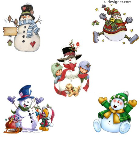 Various forms of cute snowman vector material 02