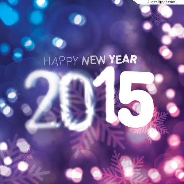 2015 Happy New Year creative font vector material
