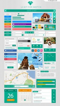 Green tone of outstanding foreign flattening APP GUI PSD free download
