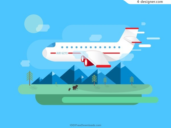 Airplane business travel vector material