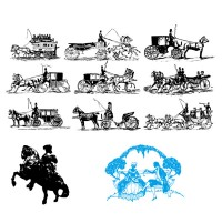 Ancient European carriage black side silhouette image