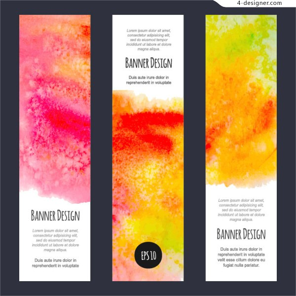 Bright colorful watercolor banners Design Series 4