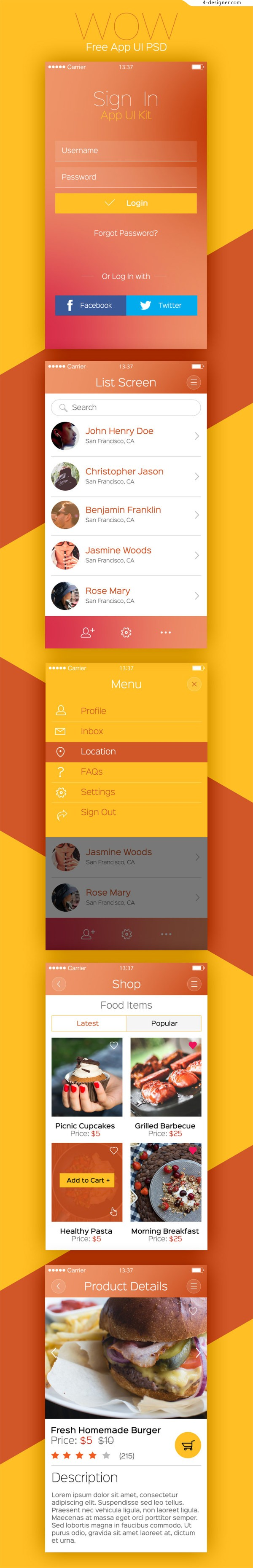Color and taste of the food APP PSD free download