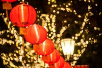 Larger HD bright lights of New Year red lanterns warm black mood
