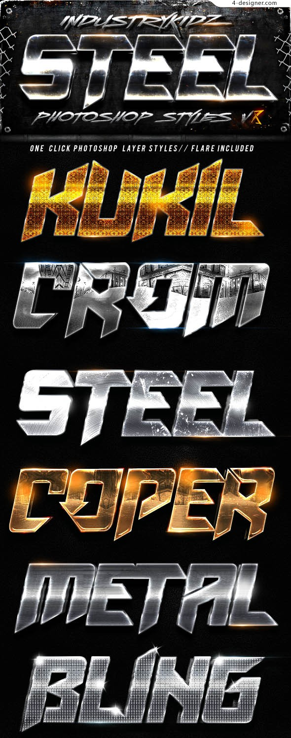 Metal psd font effects