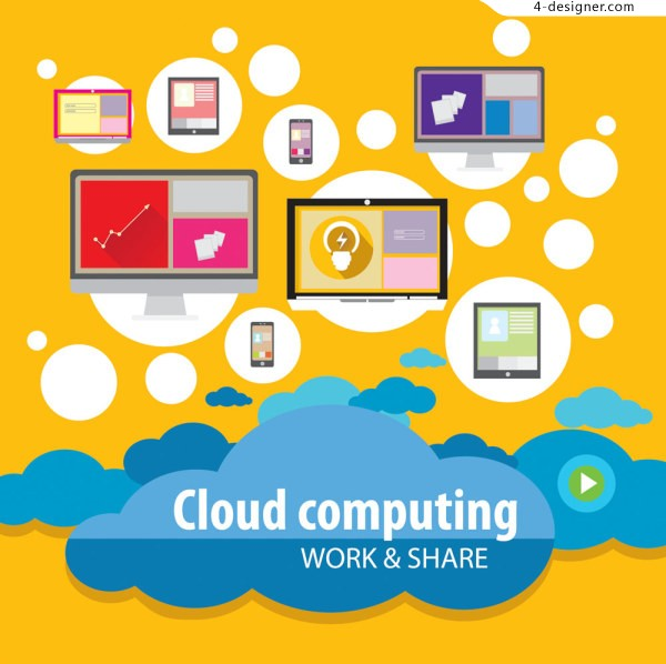 Modern communications cloud services flattening icon vector