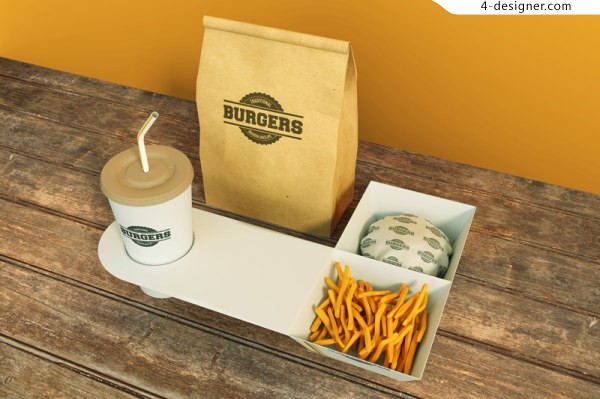 Outstanding foreign brands proposal template textures wood chips packaged bags of hamburger fast food