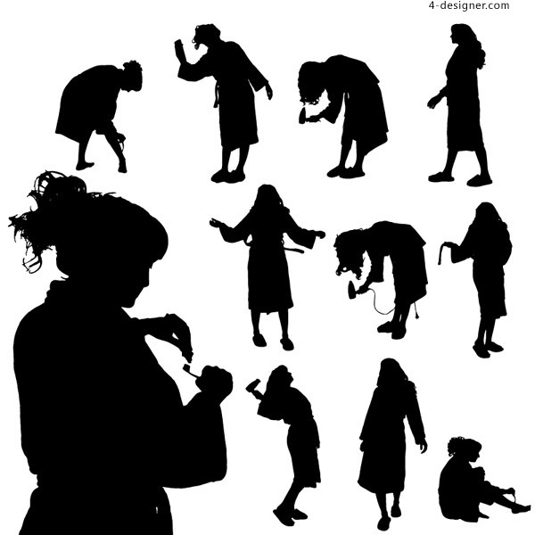 11 models of washing woman silhouette vector material