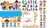 And other cartoon characters and children silhouette vector material