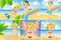 Beach casual character vector material beach