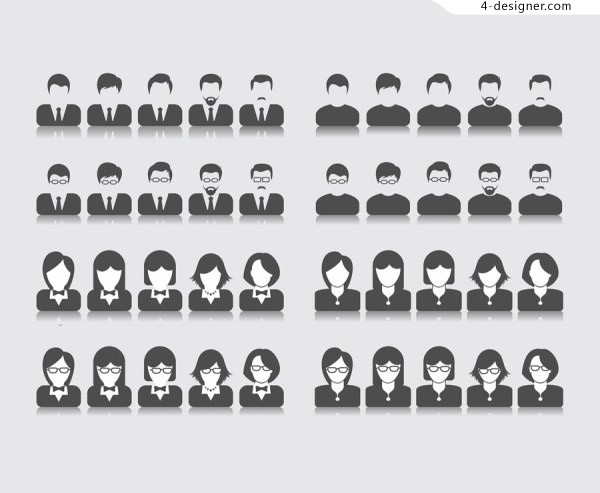Black and white vector material professional portraits