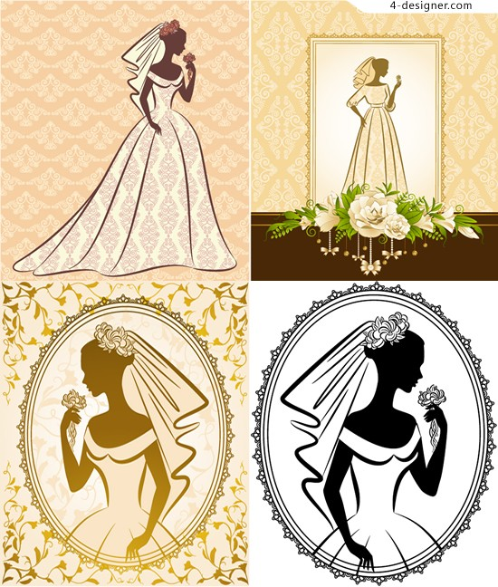 Bridal silhouette line drawing vector material line drawing dress