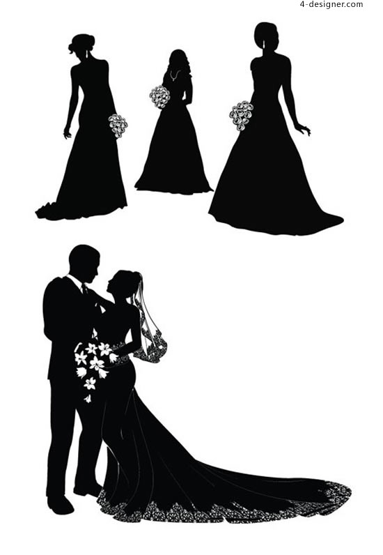 Bride and groom silhouette vector material the bride and groom