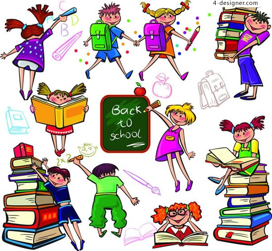 Cartoon campus student learning vector material cartoons student