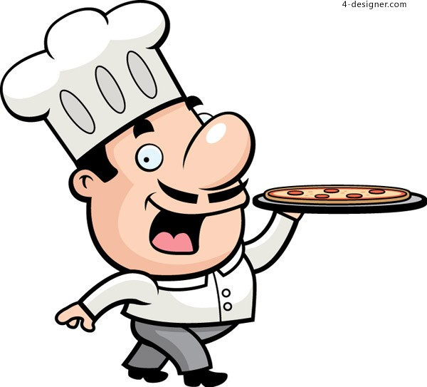 Cartoon end pizza chef Vector material