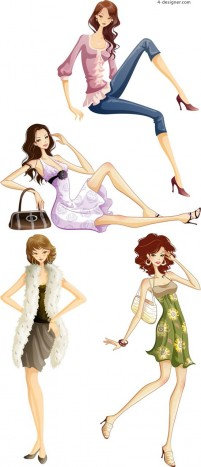 Cartoon fashion beauty vector material wear fashion wear