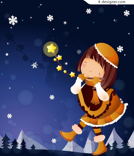 Cartoon girl snowy night vector material