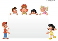 Children and white cartoon vector material