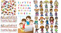 Children humanoid cartoon characters and patterns and other vector material
