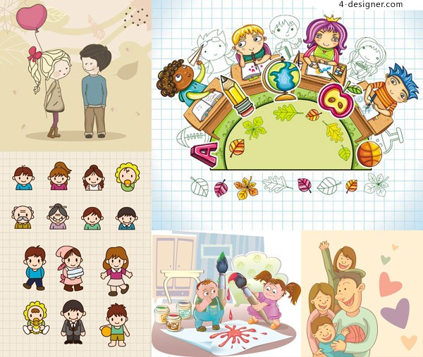 Children s cartoon style character design student vector material free download