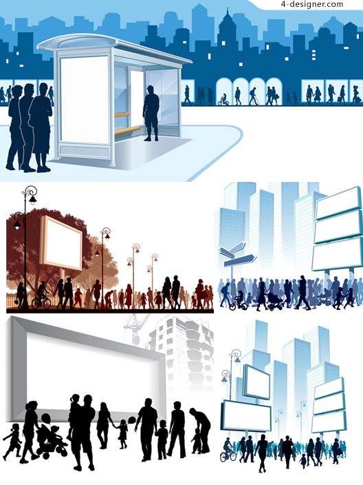 City billboard silhouette figures vector material downloaded