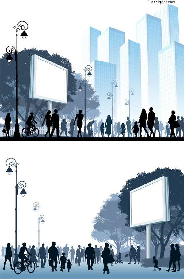City silhouette figures vector material downloaded